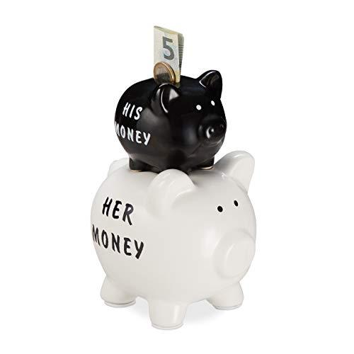 Relaxdays Sparschwein, His & Her Money, 2 Schweine, lustiges Geldgeschenk für Paare & Hochzeiten, Spardose, schwarz/weiß, 1 Stück