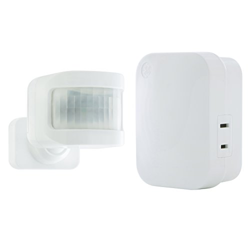 motion activated light controls mySelectSmart GE Wireless Control, 1 Outlet, 150 ft. Range from Plug-in Receiver, Ideal for Lamps and Indoor Lighting, No Wiring Needed, Activated, Mountable, 36235, Motion Sensor-1 Pack