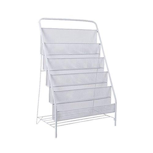 SXDERTY-stehendes Regal Prospektständer Eisen Zeitschriftenständer Zeitschriftenhalter im Badezimmer Wohnzimmer Büro (Größe: 87 * 33 * 57cm) (Farbe : Weiß)