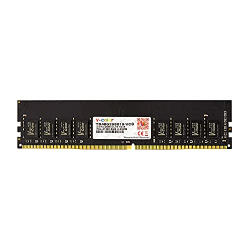 v-Color 8GB (1 x 8GB) DDR4 2666MHz (PC4-21300) CL19 1.2V U-DIMM Desktop Computer Memory Ram Module DRAM Non ECC Unbuffered DIMM (TD48G26S819-VC)