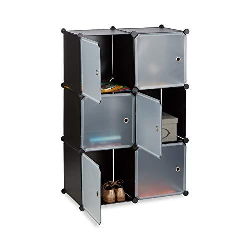 Relaxdays, schwarz Regalsystem m. 6 Türen, DIY, Cubes, Grifföffnungen, Raumteiler, Badregal, Kunststoff, HBT 105x70x35cm, Standard