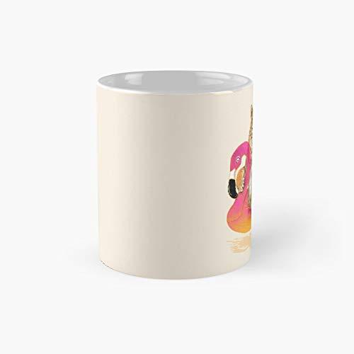 Chillin Flamingo Tiger Classic Mug | Mejor regalo divertido tazas de café 12 oz
