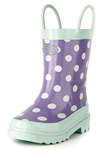 Outee Toddler Girls Kids Rubber Rain Boots Purple Waterproof Shoes Polka Dots Cute Print with Easy-On Handles Classic Comfortable (Size 10,Purple)
