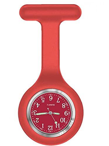 NaiCasy Enfermera Reloj de Cuarzo Broche de Silicona Fob Control de Infecciones Diseño Enfermera Doctor médico en urgencias médicas Broche Reloj T Rojo en Forma de Cuidado de la Salud