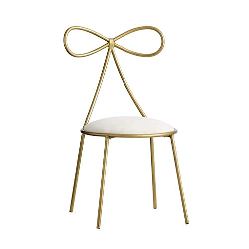 WONKIIN Dressing Table Makeup Chair,Simple Bow Tie Dining Chair Metal Girl Beauty Chair Nail Stool Bedroom Gold Leisure Backrest Chair Decoration Furniture,Gold