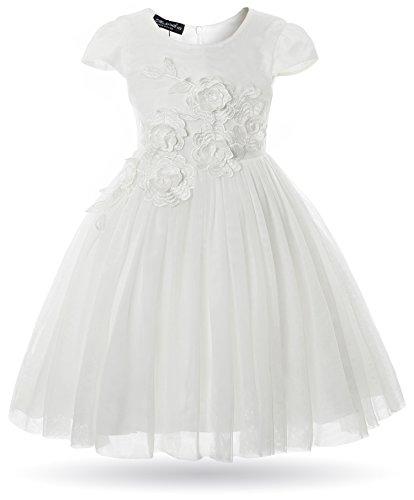 CIELARKO Vestito Bambina Principessa Fiore Abiti Bianco 3-4 Anni