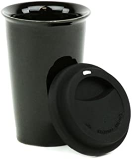 Eco 11-Ounce Ceramic Double Wall Thermal Coffee Tumbler w/Silicone Lid - Black