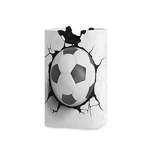 Witzige Wäschekörbe Sport Fußball faltbar faltbar Wäschekorb Haushalt Organizer Körbe mit Griffen für Zuhause, Badezimmer, Schlafzimmer, Waschraum, 50 l