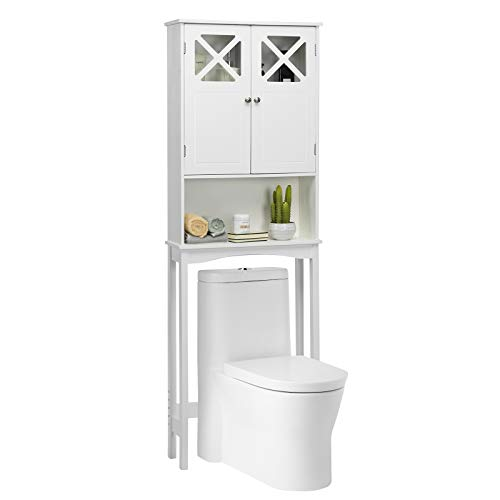 Giantex Over-The-Toilet Bathroom Space Saver with Adjustable Shelf, X-Shape Double Door,High-Strength Tempered Glass Bathroom Organizer Free Standing Toilet Rack (White)