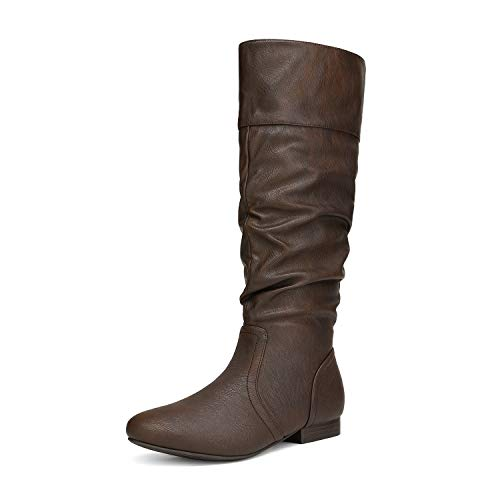 DREAM PAIRS Women's BLVD Brown Knee High Pull On Fall Weather Boots Size 7 M US