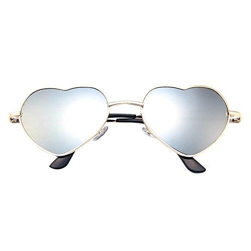 Skang Herz Geformt Sonnenbrille Hochzeitsbrille Sommerbrille Sonnenbrillen mit UV Schutz Unisex Herzbrille Mit Metallrahmen(Einheitsgröße,A)