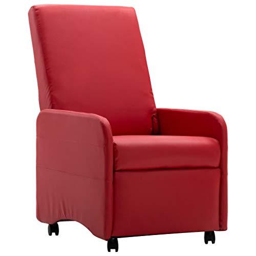 Benkeg Sillón Reclinable De Cuero Artificial Rojo 65 X 83 X 101 Cm Sillón Relax, Sofás De Salón, Chaise Longue