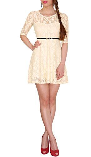 Sodacoda Damen Spitzen-Kleid - Süßes Prinzessin Mini Kleid 3/4 Arm - EXTRA KURZ - (XXL (42) Cremeweiß)