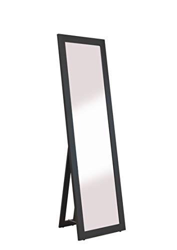 rahmengalerie24 Standspiegel schwarz groß Spiegel Ganzkoerperspiegel aus Holz mit Standfuss Ankleidespiegel stehend Stehspiegel 160 cm in 4 Farben Rechteckiger Hochspiegel mit Kunstglass