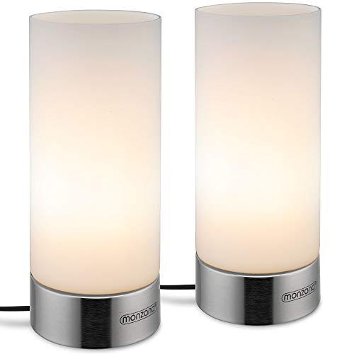 Monzana 2er Set Tischlampe Satin Nickel Touch Tischleuchte 3 Helligkeitsstufen Lampenschirm Glas Nachttischlampe Leuchte Lampe