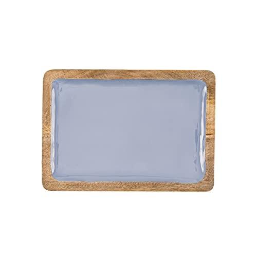 THE CHEF COLLECTION – Bandeja de madera, plato rectangular, fuente con esmalte en colores, Colección Nature Color, hecho a mano, calidad premium. 35,5x25,5x2,5 cm (Azul)