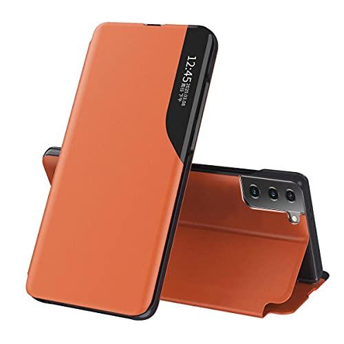 ESONG Funda Smart View para Samsung Galaxy M52 5G,Ultra Delgado Inteligente Funda Flip Case Cover,Prima PU Cuero Carcasa con Clear Ventana,Moda Espejo Estuche Movil con Soporte Plegable-Naranja