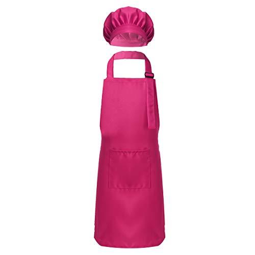 Yeahdor Kinder Kochkleidung Kochkostüm Koch Schürze Set Bäker Maler Schürze mit Kochmütze Chefmütze Küche Zubehör Set Rose Rot S