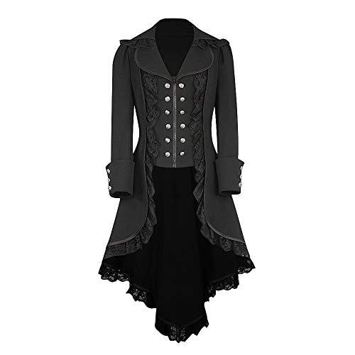 Setsail Damen Jacken Mäntel Retro Button Vintage Steampunk Langen gotischen Kragen Smokingmantel mittelalterliche einfarbige Lange Ärmel Zweireiher unregelmäßige Jacke (Schwarz, XXL)