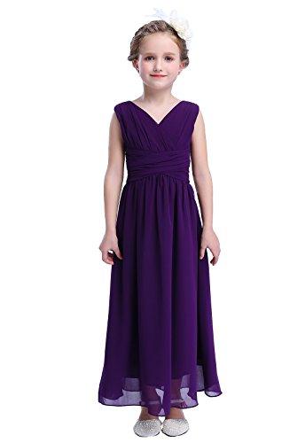 Happy Rose Flower Girl's Dress Party Dresses Juniors Long Bridesmaid Dress Purple 10