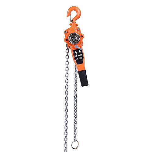 Polipasto de bloque de cadena 0.75t Color naranja Polipasto de cadena Polipasto de trinquete Polea de palanca de trinquete Ganchos para trabajo pesado Elevación 3 metros Acero de aleación para trabajo