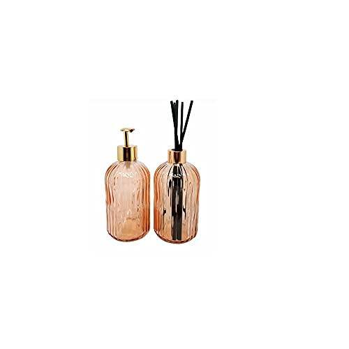 Kit C/2 Pçs de Difusor e Porta Sabonete Líquido Dourado