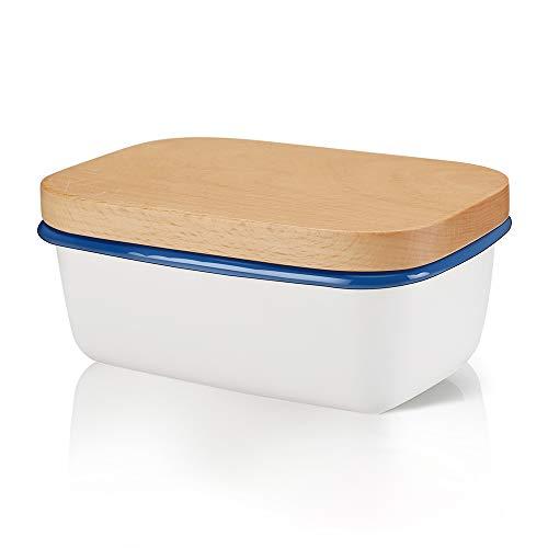 Emaille Butterdose mit Holzdeckel, Weiß Butterbehälter für 250 g Butter