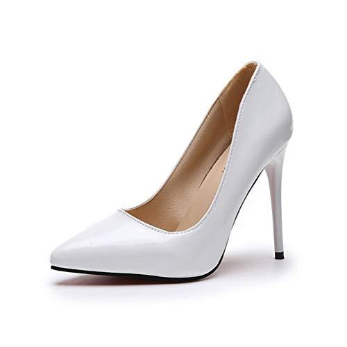 Zapatos de tacón alto para mujer, zapatos de corte de tacón alto, zapatos de tacón alto, punta de aguja poco profunda, trabajo de fiesta inteligente, blanco, 38