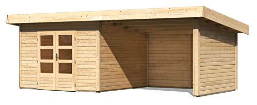 Gartenhaus Achensee 3 mit Anbaudach 3,30 m Breite und Seiten/Rückwand, naturbelassen, 38 mm Wandstärke - 6,05 x 3,09 x 2,38 m (B x T x H)