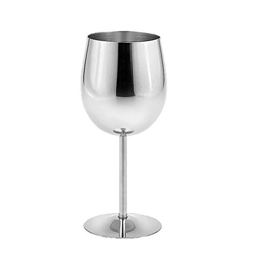 Uniquk Vaso de Acero Inoxidable Elegante Acabado Satinado Vaso de Vino Tinto Irrompible