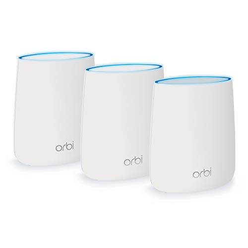 NETGEAR Orbi Tri-band Whole Home Mesh WiFi System with 2.2Gbps speed (RBK23) Router & Extender replacement covers up to 6,000 sq. ft., 3-pack includes 1 router & 2 satellites