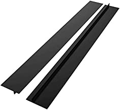 DSYJ Kitchen Silicone Stove Counter Gap Cover, Easy Clean Heat Resistant Wide & Long Gap Filler, Seals Spills Between Counter, Stovetop, Oven, Washer & Dryer, Set of 2 (25 Inches, Black)