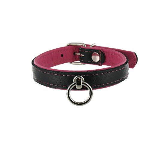 SiaLinda: Halsband echtes Elch Leder mit O-Ring, zweifarbig, schwarz/pink 20mm breit - Lange Länge