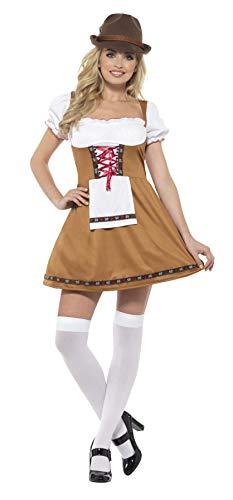 SMIFFYS CostumeCameriera Bavarese,Marrone,con Abito Corto e GrembiuleApplicato Smiffy's Birra, Colore, EU Dimensione 44-46, 49655L
