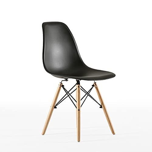 Silla de comedor nórdica de cuatro piezas, silla de salón elegante, cómoda de madera de haya maciza, adecuada para la silla de comedor de café, dormitorio y salón, color negro