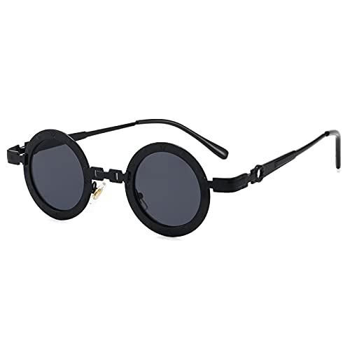 XUANTAO Steampunk Gafas Redondas Retro Gafas de Sol de Espejo Hueco Gafas de Sol de Tendencia de Personalidad Visera de Sol Negro/Gris