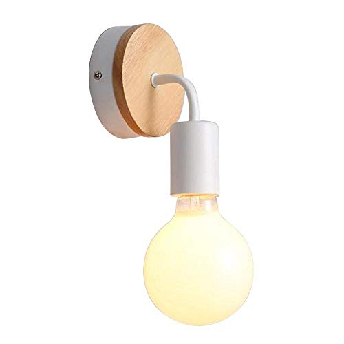 Signstek CY-BD-097 -Aplique creativo y moderno, luz de pared (madera y hierro) para cuarto de baño, balcón, comedor, dormitorio, salón, etc. (blanco)