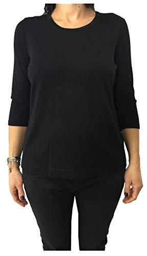 Persona by Marina Rinaldi Maglia Donna Nero Manica 3/4 MOD Anice 50% Lana 50% Acrilico (L - 50)