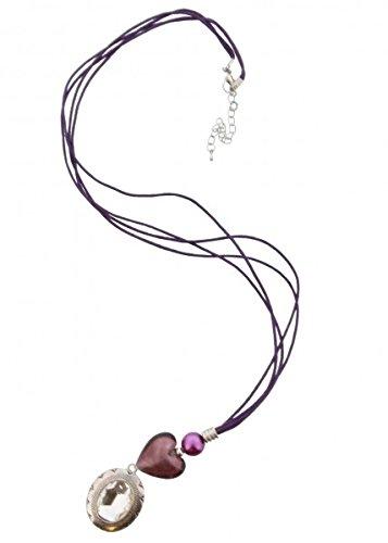 Lange Halskette (Leder) ca.90cm, Violett / Lila / Silber mit Herz und Kristall Amulett