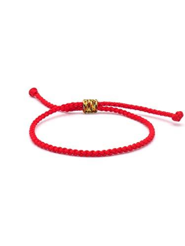 BENAVA Tibetisches Armband Freundschaftsarmband - Buddhistischer Schmuck Handgemacht Verstellbar Rot
