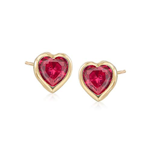 Ross-Simons Child's Simulated Ruby Heart Stud Earrings in 14kt Yellow Gold
