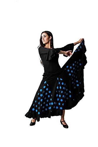Costumizate! Falda de Lunares Azul con un Volante para Mujer Adulta Talla XL