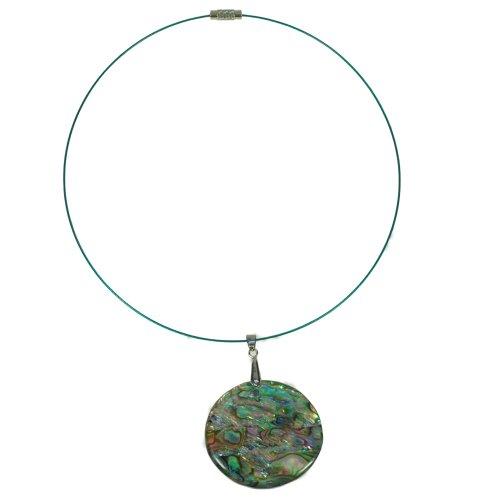 Edelstahl Spirale mit Abalone Muschel Anhänger (Seeopal)