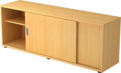 bümö® Sideboard mit Schiebetür | Büro Schiebetürenschrank | Für Aktenordner & Stauraum für Material | Büromöbel | in 12 Farben (Buche)