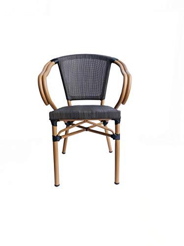 LaNatura SIT&Chairs Stuhl 2er-Set Kunststoffgewebe Aluminium Beige Dunkelbraun