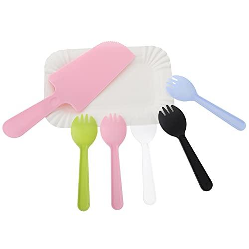 Amosfun Juego de vajilla desechable de 50 piezas, incluye 50 platos de cena, 50 tenedores de postre, 5 cuchillos, para cumpleaños, fiestas, bodas, baby shower