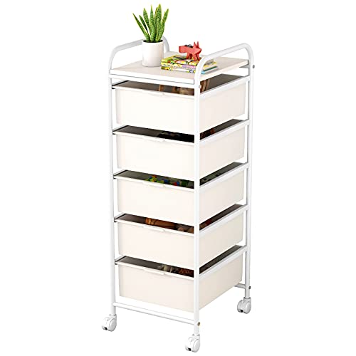 Multipurpose Mobile Rolling Utility Storage Cart and Organizer with 5 Plastic Drawers on wheels (White, 5-Drawer)