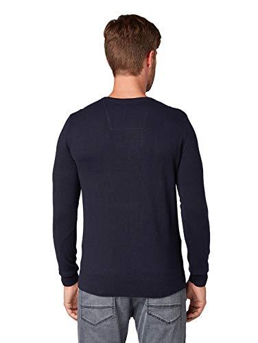 TOM TAILOR Herren Pullover & Strickjacken Schlichter Strickpullover Knitted Navy Melange,XL