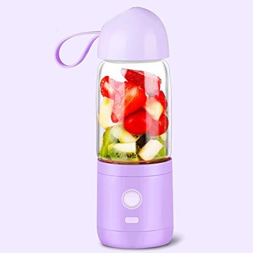 DWCJIE Portátil Juicer Blender- Mini tamaño Personal for Batidos de Jugo Mixto y batido - USB Recargable (Color : Purple)