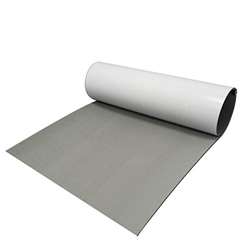 CHURERSHINING EVA Foam Decking Sheet for Boat Yacht Marine Floor Carpet with Self Adhesive Non-Slippery 94.5'×35.4' Solid Color (Light Gray)